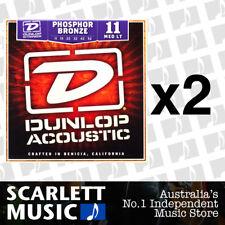 2x Jim Dunlop Acoustic String Set Medium Light 11-52 Phosphor Bronze Strings