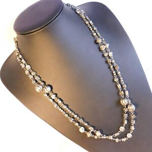 Pewter Long Necklace beaded heavy roses costume Jewellery