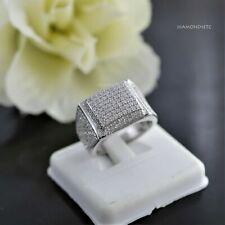 14k White Gold Over Round VVS1 Diamond Engagement Ring Men's Wedding Pinky Band