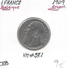 BELGIQUE - 1 FRANC - 1909 - Pièce de Monnaie en Argent // Qualité: TTB