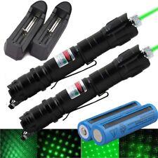 2Pc 900Miles Star Beam Light Green Laser Pointer Pen 2in1 Lazer Torch+Batt+Char