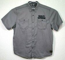 Harley Davidson Motorcycle Mens Gray Embroidered Short Sleeve Shirt Size XXL EUC