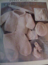 CROCHET PATTERN ~ BABY HANDSOME CHRISTENING SET , SACQUE , BOOTIES, HAT, PANTS