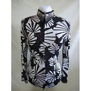 123603 Lisa Nelle Fan-Tastic Ladies Horsemanship Shirt L/XL Black & White ONE OF