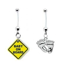 2 PREGNANCY Belly Rings Baby on Board + Feet 14g Piercing FREE US Shipping+Gift