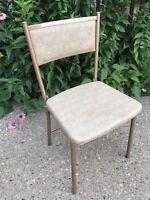 VTG COSCO Gatefold Folding Metal Steel Vinyl Patio Kitchen Tan Chair Retro USA!