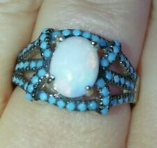 Natural Australian solid Opal & sleeping Beauty ring solid 925 Sterling silver