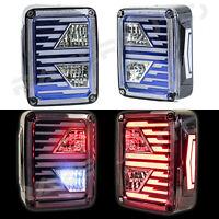 Brake+Reverse+Turn Signal Blue Clear LED Taillight fit 07-18 Jeep JK Wrangler