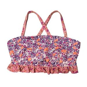 FP Movement NWT Plie All Day Pink Floral Cross Back Ruffle Sports Bra Size M