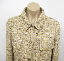 CHANEL Beige Boucle Jacket w/ Burgundy & Green Metallic Accents - Size 42