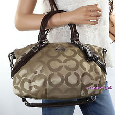 NEW Coach Madison Signature OP Art Sophia Satchel Bag 17693 Khaki Mahogany Brown