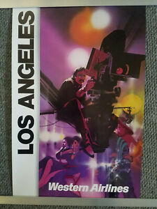 Vintage Original Western Airlines Travel Poster LOS ANGELES  / WAL