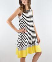 Sleeveless Shift Dress Size UK 8 Ladies Yellow Striped with Pockets NEW #B-195