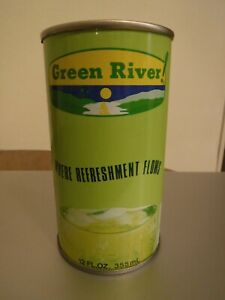 """Vintage Steel bottom opened """"Green River"""" soda can Canfield Advertisement Pop"""