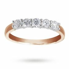 Pave 1.25 Cts Round Brilliant Cut Diamonds Five Stone Ring In Fine 14K Rose Gold