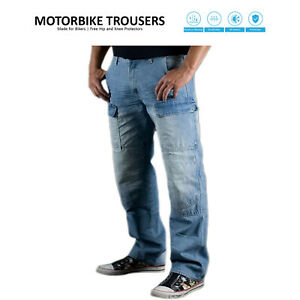 Mens Motorbike Protective Jeans Motorcycle Denim Pants Reinforced Cargo Trousers