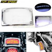 Chrome Motorcycle License Plate Holder Frame Curved LED Plate Light For Harley
