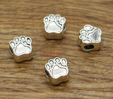 20 Dog Paw Beads Spacers Animal Charms  Antique Silver 11x11 3.5-4mm hole 2253