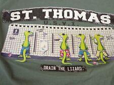 "ST THOMAS USVI  T SHIRT Small   ""Drain The Lizard"" Funny Tee    G9"