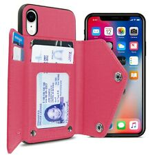 Hot Pink Wallet Case for Apple iPhone XR Fabric Credit Card Phone Cover
