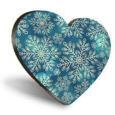 Heart MDF Coasters - Blue Snowflakes Vintage Christmas  #12404
