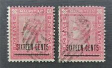 Nystamps britische Mauritius Stempel # 78-79 gebrauchte $137 s17y2792