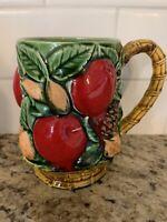 Vintage Inarco Coffee Mug Raised Apples Fruit Nuts Pine Cones Leaves