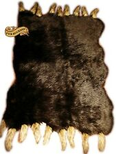 FUR ACCENTS Sable Brown Bear Skin Area Rug  with Wolf Tails 6 Sizes