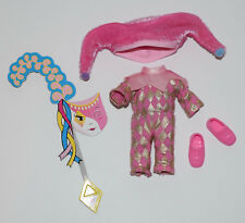 KELLY DOLL CLOTHES SHOES * PINK & GOLD JESTER COSTUME,  PINK LOAFERS, MASK