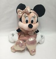 Disney Parks Store Minnie Mouse Plush Rose Gold 12'' Stuffed Animal AUTHENTIC