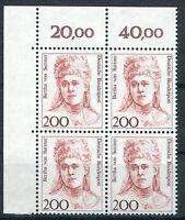 Bund 1498 postfrisch Eckrand Viererblock Ecke 1 VB BRD Frauen Hunderterbogen MNH