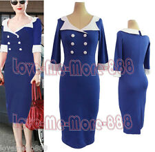 Womens ROCKABILLY PARTY Celebrity Wear Work Tight Fit Bodycon Midi Dresses (2XL)