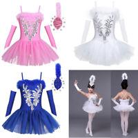 Kids Girls Ballet Dance Dress Leotard Tutu Skirt Swan Ballerina Costume Outfits