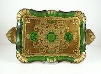 nostalgisches Tablett im Florentiner Stil, grün/gold, ca. 37 x 22 cm