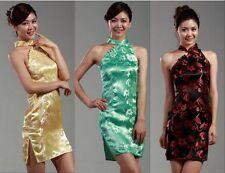 6 colour can chooseChinese women's silk mini dress /Cheongsam size:6 8 10 12 14