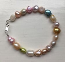 "Mixed Coloured Freshwater Pearl 7.5"" Bracelet with 925 Silver Clasp"