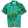 Hawaiian Shirt Aloha Ship Coconut Sea View Holiday Casual Green L hc256t