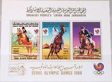Libia libia 1988 bloque 117 a S/s 1350 Olympics seúl equestrian montar a caballo mnh