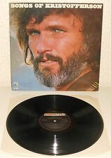 KRIS KRISTOFFERSON Songs Of Kristofferson 1977 LP UK country folk vinyl