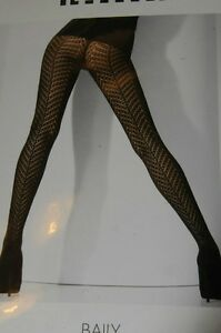 $85 New WOLFORD Baily Ajoure Fishnet Mocca Brown Tights Extra Small Large XS L
