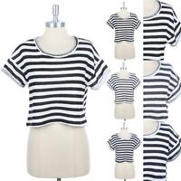 Women's Raw Neckline Rolled Up Short Sleeve Striped Cropped Top Casual S M L
