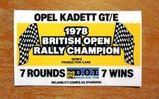 Opel Kadette GT/E 1978 British Open Rally Champion Motorsport Sticker / Decal
