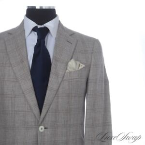 Ermenegildo Zegna Black Label Milano Easy Putty Summer Plaid Linen Mix Suit 50