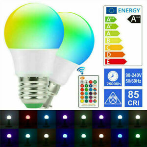 RGB LED Remote Control Colour Changing Dimmable Bayonet Screw Light Bulb 12v