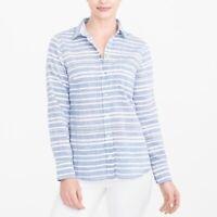 J Crew Striped Gauze Boy Shirt Size S Blue White Button Front Blouse Beach