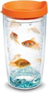 Tervis Goldfish Tumbler Orange Lid 16oz Hot/Cold Drinks 5673@