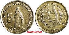 Guatemala Silver  1945  5 Centavos Toned High Grade  KM# 238.1