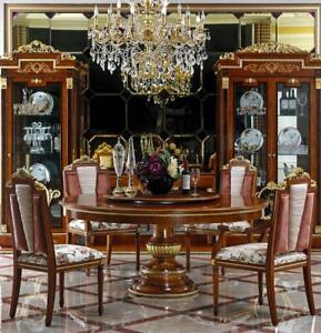 Redondo Mesa de Comedor + 8 Sillas Completo Conjunto Barroco Rococo Set