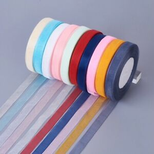 10X 50yards/rolls Satin Sheer Organza Ribbon Party Craft Wedding Gift Decoration