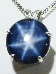 """GIANT BLUE STAR Sapphire POPULAR ROUND shape 15x16mm 18"""" chain Silver CERTIFIED"""